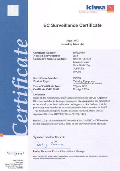 EC Surveillance Certificate Page 1 of 2